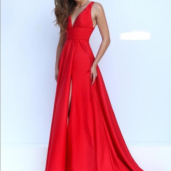 Dresses | Satin Red Prom Dress | Poshmark